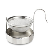 Café Ole The Stal Mesh Tea Infuser Strainer and Drip Bowl Caddy, Stainless Steel