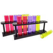 COM-FOUR ® 12x Test Tubes Liqueur Glasses, Plastic Shot Glasses with Stand in Various Colours, 40 ml