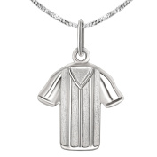 Clever Jewellery Set Silver Pendant Small Football Shirt 17 x 16 mm Matt and Shiny and Curb Chain 42 cm 925 Sterling Silver