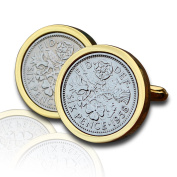 1958 Gold Sixpence Coin Cufflinks Vintage 60th Birthday Anniversary