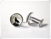 Moon cufflinks Howling wolf Full moon jewellery Animal cuff links