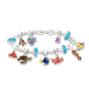 Officially Licenced Disney Pixar Finding Nemo Just Keep Swimming Charm Bracelet With 14 Sterling Silver-Plated Charms, 8 Hanging Character Charms, A Heart Charm Exclusively From The Bradford Exchange
