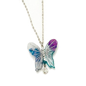 Acrylic butterfly Necklace / Pendant Purple Blue