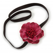 Red Leather Poppy Flower Elastic Headband/ Headwrap