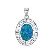 Bling Jewellery Greek Key Synthetic Blue Opal Pendant Sterling Silver Necklace 41cm