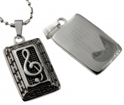 Music Note Bar Pendant with Inspirational Inscription.