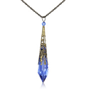 Necklaces for Women, Pendant Necklace of HALONA Vintage Antique Bronze Victorian Women Necklace Made with Crystal Icicle, Fashion Women Necklaces,Jewellery for Women