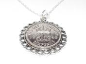 Fine Pendant 1948 Lucky sixpence 70th Birthday plus a Sterling Silver 46cm Chain