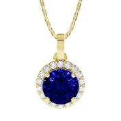 Stardust 1.35ct Sapphire and Diamond Halo Silver Pendant