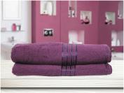 SUNSHINE COMFORTS® 100% SOFT COTTON 70 X 120CM LARGE BATH TOWEL PACK OF TWO : PURPLE