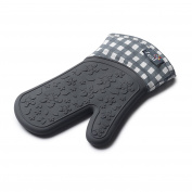 Zeal Silicone Heavy Duty Single Oven Mitt Glove, Dark Grey (29 cm Long) - Gingham