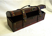 Approx 35cm Long Rustic Antique Look Wooden Pirate Treasure Chest Trinket Box/ Wine Bottle Gift Box/ or for Storing Viewmaster Reels