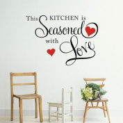 HENGSONG THIS KITCHEN IS SEASONED WITH LOVE Wall Quote Sticker Removable DIY Art Decal Mural Home Decor