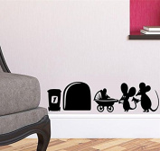 "Mouse Hole "" MOUSE FAMILY "" Skirting Board Wall Art Sticker Vinyl Decal "" 19cm x 5cm..UKSELLINGSUPPLIERS"