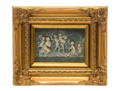 """Picture in relief - children - angels - antique style - faux alabaster - 10.2""""x12.2"""""""