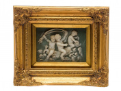"""Picture in relief - cherubs - angels - antique style - faux alabaster - 10.2""""x12.2"""""""