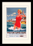 """National Railway Museum """"Weston-Super-Mare (2)"""" Mounted and Framed Print, Multi-Colour, 30 x 40 cm"""