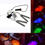 GZQ Car Led Strip Lights 7 Colour Changing RGB Waterproof Interior Car Underdash Neon Lamp With Remote Control