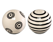 Caffco International M. Bagwell Mix and Match Collection Ceramic Salt and Pepper Shaker, Set of 2, Black and White