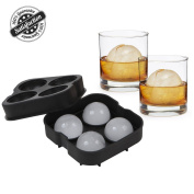 Sphere Ice Moulds Flexible Silicone Ice Tray Round Ice Ball Maker for Whiskey Drinking, FDA Approved Food-Grade by Bseen