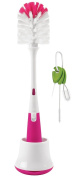 OXO Tot Bottle Brush with Nipple Cleaner and Stand with Cleaning Brush Set, Pink/Green