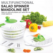Huji Multifunctional Salad Spinner and Mandoline Set, Salad Tosser and Drainer, Vegetable Dryer with 6 Blades and Pouring Spout