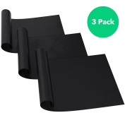 Vremi 3 Pack Nonstick Oven Liners Set - Heat Safe up to 500 F Heavy Duty Reusable Cut to Fit Non Stick Liner Sheets for Oven Racks - BPA Free Oven Protector Mats for Cooking Roasting or Baking - Black