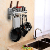 Kitchen Wall Pot Pan Rack, Plumeet 5 in 1 Wall Mounted Hanging Kitchen Organiser with 8 Pot Hook & 3 Knife Holder & Utensil Cup & Spice Rack & Towel Rack, Aluminium