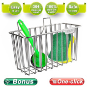 Kitchen Sponge Holder,Zolove Stainless Steel Sink Caddy Dishwashing Liquid Drainer Rack Sink Organiser for Brush Soap Towel and Sink Supplies with extra Bonus-A Sponge and A Brush.