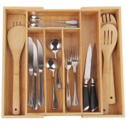 Utensil Tray for Flatware Organiser with 7 Compartments Durable and Expandable Made of Organic Bamboo Nice Drawer Organiser Holder By Artmeer