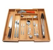 Flatware Organiser, MH ZONE Bamboo Cutlery Flatware Tray 8 Slot Expandable Utensil Organiser
