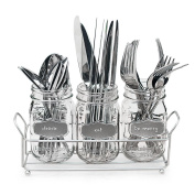 3-pc Mason Jar Flatware Caddies 500ml with Silver Metallic Chalkboard in Metal Caddy Holder, Lightweight Multi Use Space-Saver Set