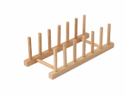 Plate Rack-holder Kitchen Cabinet and Pantry Organiser Rack, 6 Compartments,Pot Lid Holder or bookshelf 11 -inches bamboo