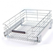 Seville Classics Pull-Out Sliding Steel Wire Cabinet Organiser Drawer, 36cm W x 45cm D x 16cm