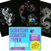Mega Value 36 Sheet SCRATCH PAPER Combo Art Set for Kids! BIG 28cm x 21cm Sheets, 18 Sheets Rainbow Scratch Paper + 9 Metallic Gold + 9 Holographic Silver! Includes 4 stylus scratchers & stencils!.