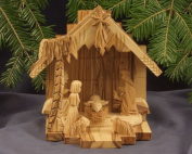 Nativity Set - Stable and figures. Height 15 cm. Hand-carved from olive wood in the Holy Land.