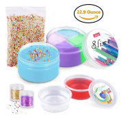 Slime, LOYO 680ml Slime Kit Including 180ml Stretchy Mixed Slime and Blue Slime, 2 Pack Crystal Slime, 2 Bottles Glitter Shaker Jars & Colourful Foam Beads, Stress Relief Toys for Kids & Adults
