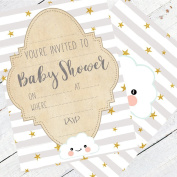 Baby Shower Invitations - Pack of 16 Baby Invite Cards Neutral Design Perfect For Boy or Girl baby showers