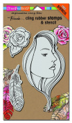 Stampendous Fran's Cling Stamp & Stencil Set 18cm x 13cm Sheet-The Look Set