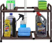 SimpleHouseware Under Sink 2 Tier Expandable Shelf Organiser Rack, Bronze