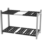 Vremi Expandable Under Sink Organiser - Bathroom Kitchen or Pantry Organisation and Storage Shelves in Heavy Duty Plastic and Metal - 2 Tier Adjustable Shelving - Cleaning Supplies Shelf - Black Grey