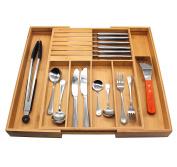 Flatware Organiser, MH ZONE Bamboo Expandable Drawer Organiser with Knife Block