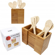 Kagura Bamboo Expandable Utensil Holder Divider Organiser for Kitchen Cutlery Silverware Flatware 100% Real-Bamboo Eco-Friendly