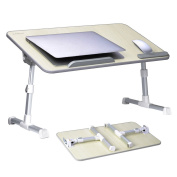 [Large Size] Adjustable Laptop Bed Coach Table, Portable Standing Desk, Foldable Sofa Breakfast Tray, Notebook Stand Reading Holder for Couch (Beige) - Avantree Minitable L