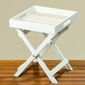 The Cape Cod Cocktail TV Tray, White and Pale Wood Tones, Natural Wood and MDF Shiplap, 11 ¾ L x 11 ¾ W x 14 ¼ Inches By Whole House Worlds