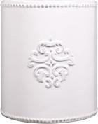 Vintage Ceramic Utensil Container- Utensil Crock With Embossed Medallion