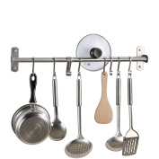 KES Kitchen Tool and Utensil Rack with 10 Hooks Multipurpose 60cm Wall Mounted, Brushed SUS304 Stainless Steel, KUR209S55-2