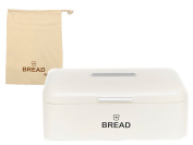 E & B Vintage Bread Box for Kitchen Stainless Steel Metal with Viewing Window Plus Free Bread Bag, Large Bread, Loaves, Pasgtires Bin Storage, Cream