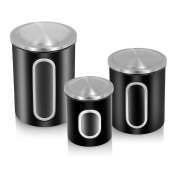 FC Airtight Window Kitchen Canister, Stainless Steel Canisters Sets with Fingerprint Resistance Lid, Set of 3