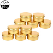 TMO Aluminium Tins 90ml 90G Screw Top Metal Tin Container Round Steel Tin Cans Metal Steel Tin Jars Cosmetic Sample Containers Bulk Food Storage Tins Candle Travel Tins Refillable Containers,10 Pcs